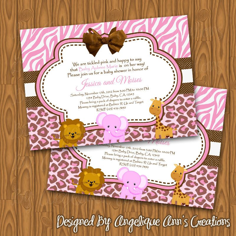 Pink Safari Baby Shower Invitations Diy Printable By Jayarmada2