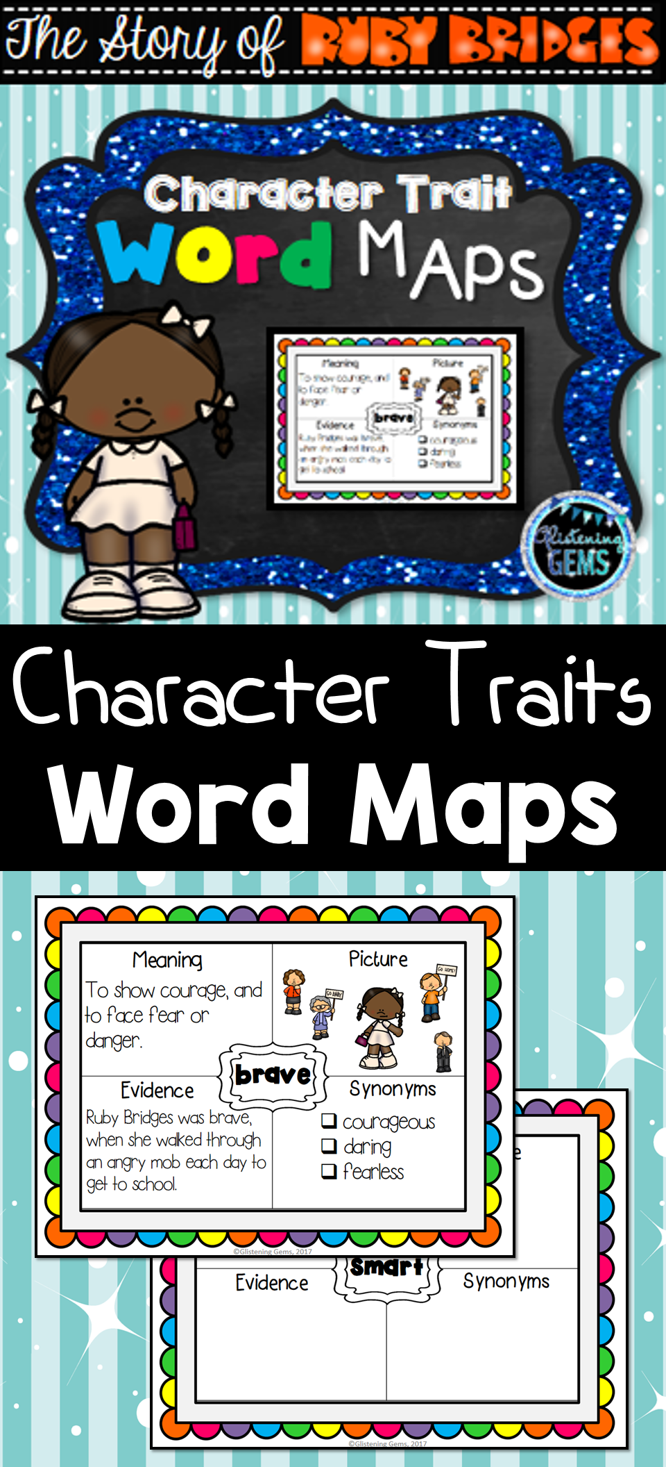 ruby bridges character trait word maps graphic organizers word