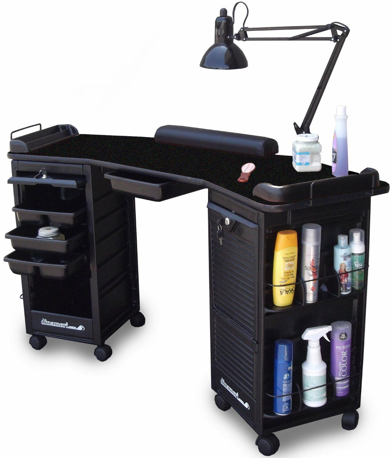 M602 Manicure Nail Table Double Lockable Black top