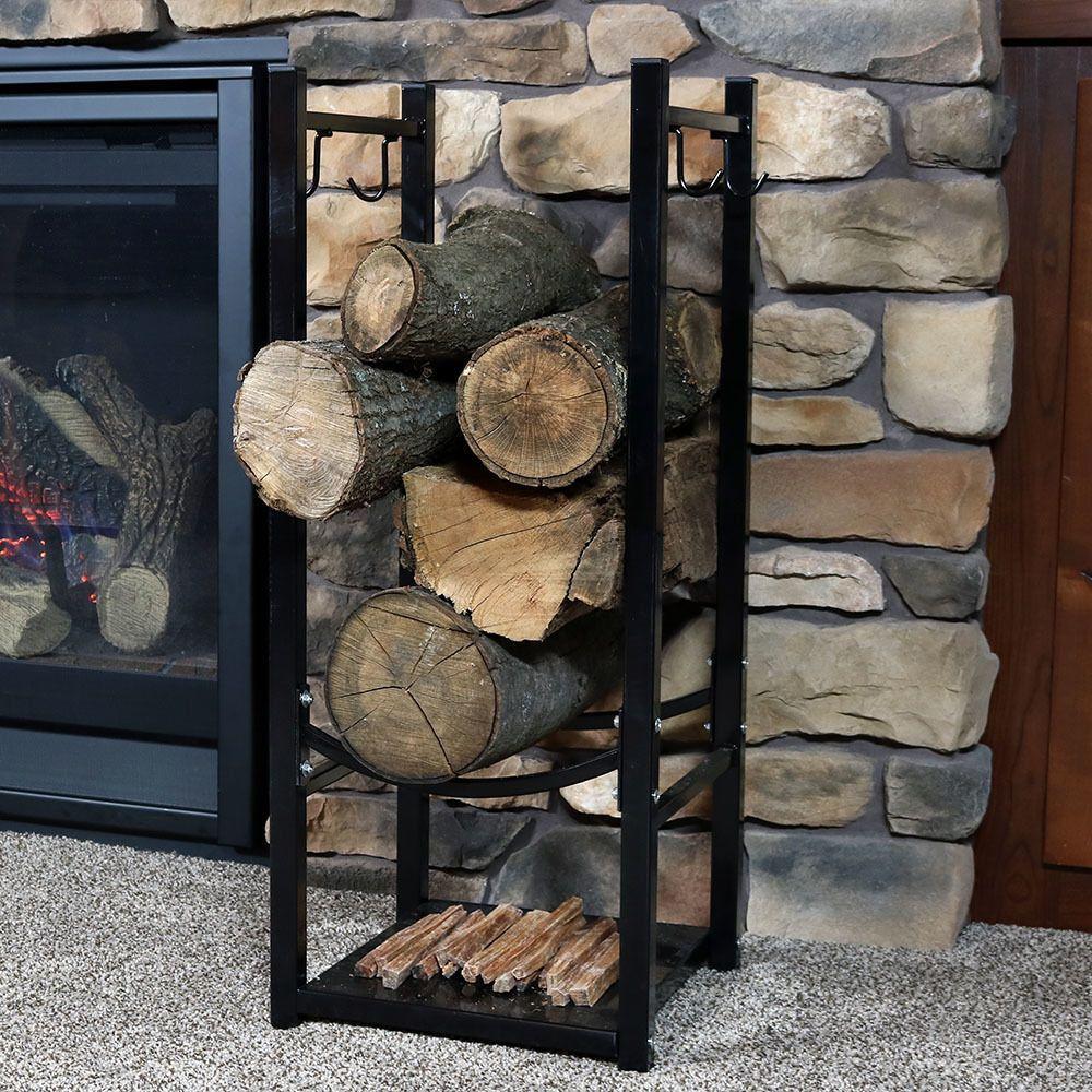 Space Saving Vertical Firewood Rack For Logs W Tool Holders Black