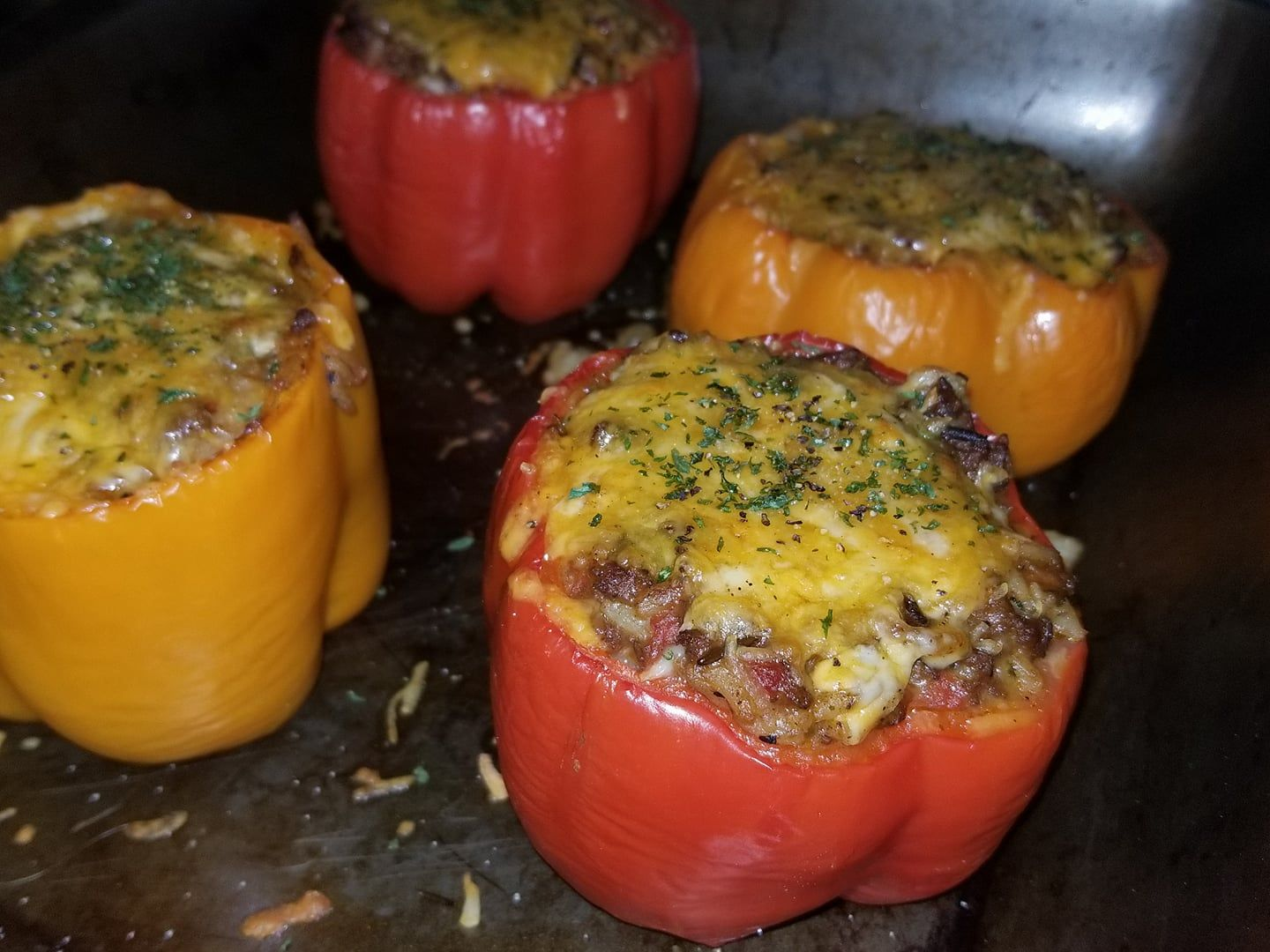 Ground Beef Stuffed Green Bell Peppers With Cheese Recipe Stuffed Peppers Grassfed Beef Recipes Sliders Recipes Beef