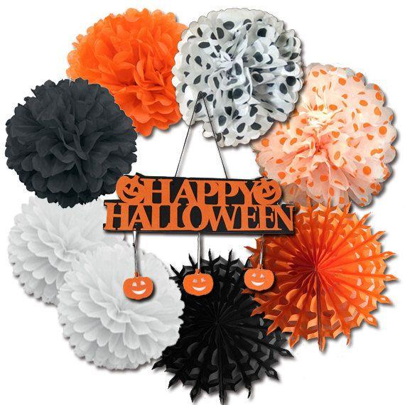 halloween tissue paper pom pom halloween decor paper fan polka dot pom poms halloween banner - Halloween Pom Poms