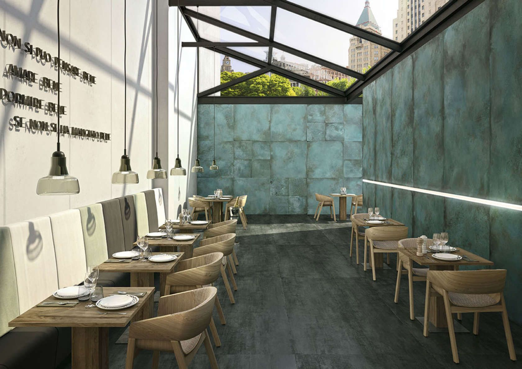 trace is caesar collection of metal effect porcelain tiles inspired by a material of fundamental importance