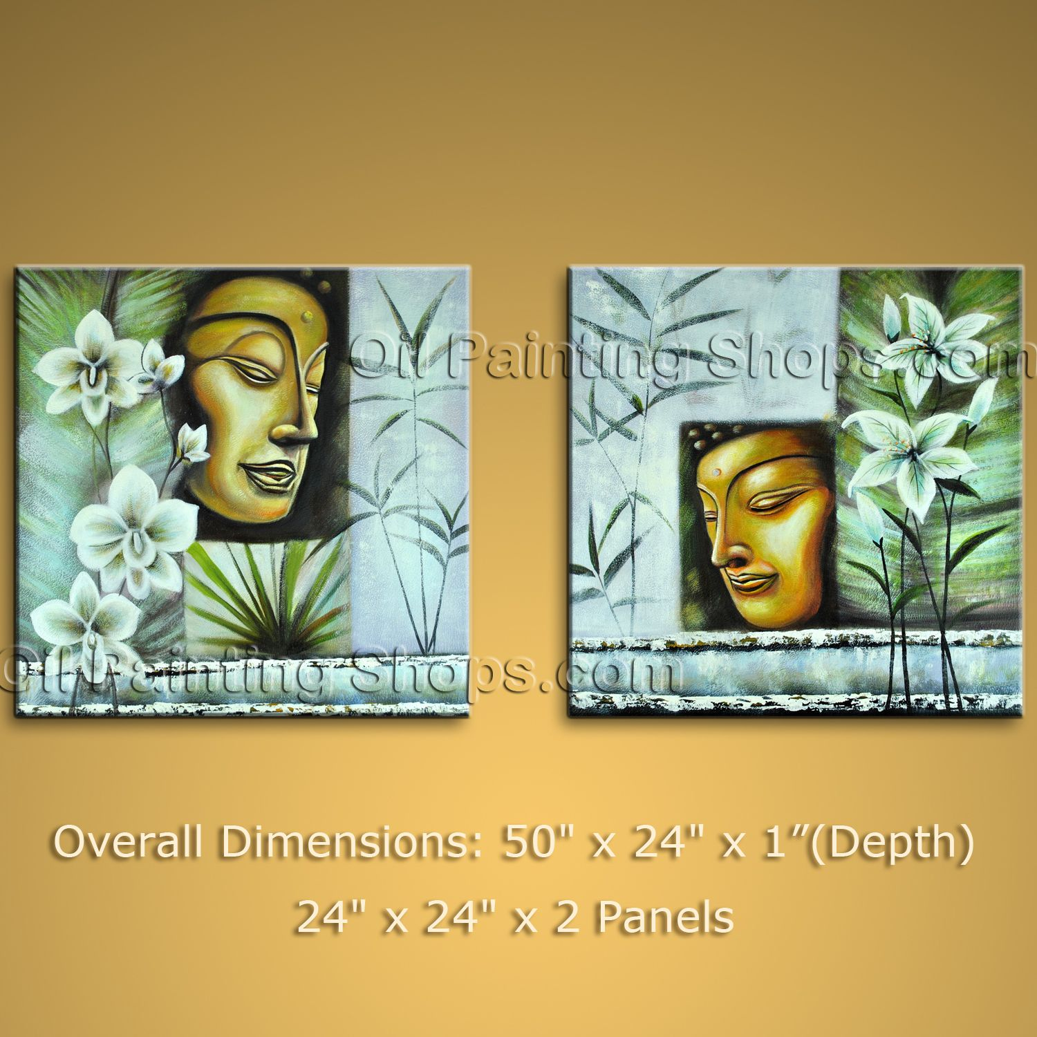 Large Abstract Zen Art Feng Shui Oil Painting Canvas Wall Buddha ...