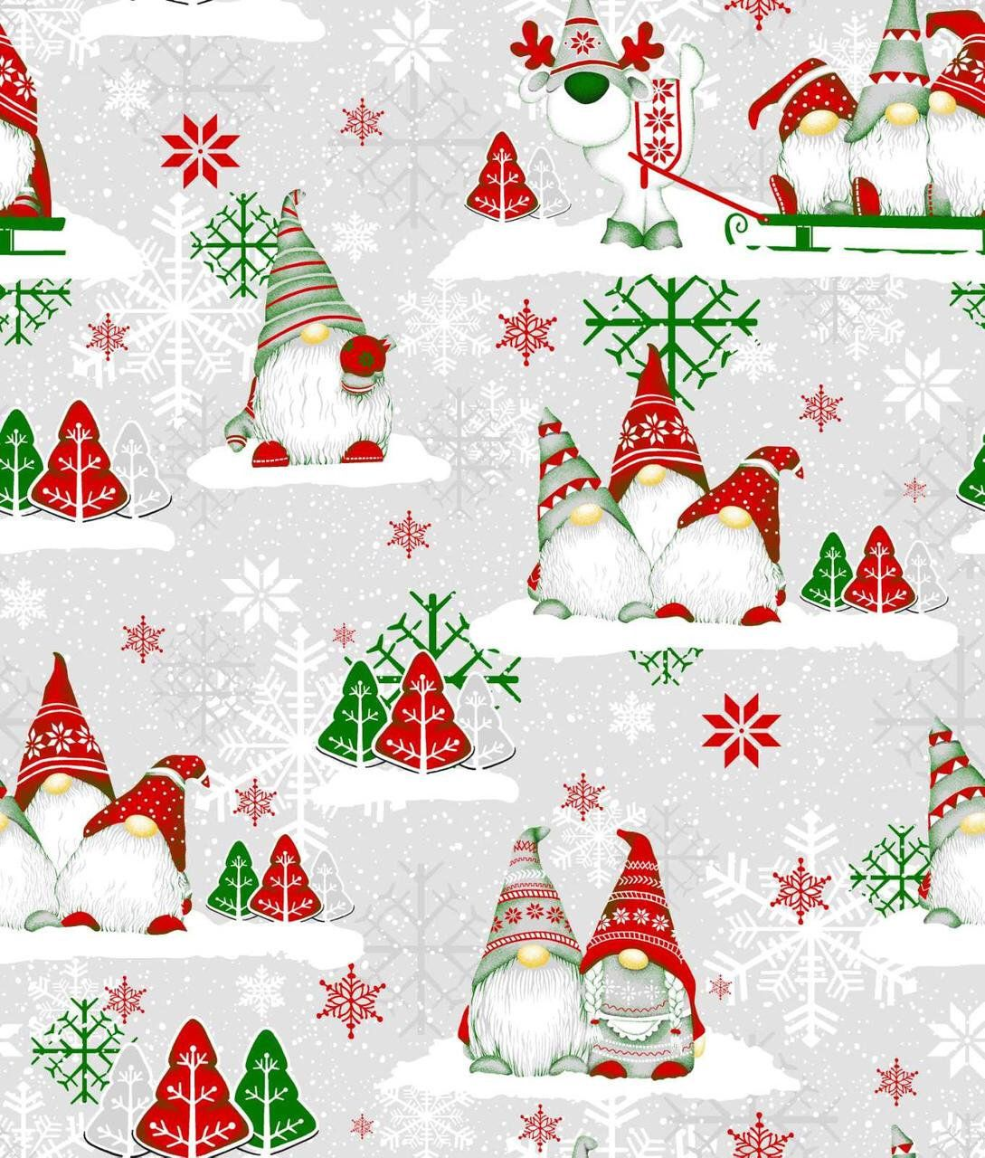 Scandinavian Gnomes Cotton Fabric By The Yard Christmas Gnomes