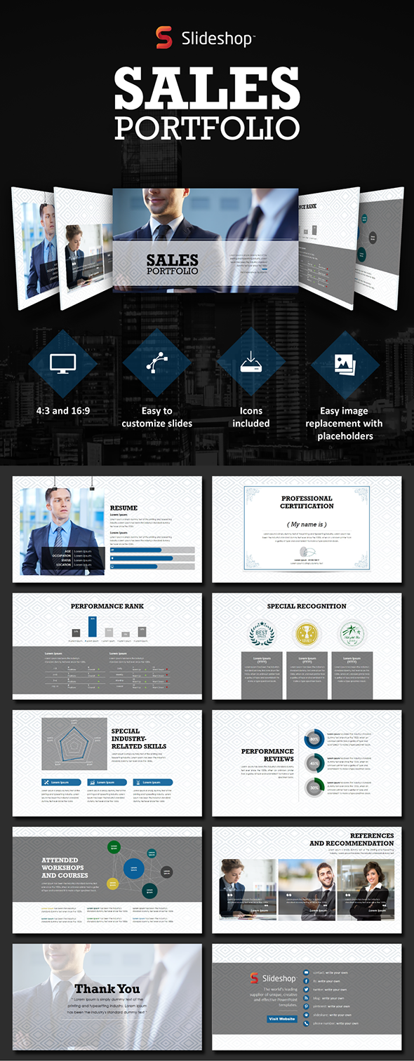 Sales portfolio PowerPoint templates | Business & Marketing ...