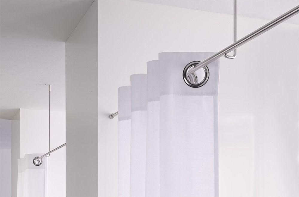 Vorhangstange Mit Deckenmontage Und Axialer Wandbefestigung