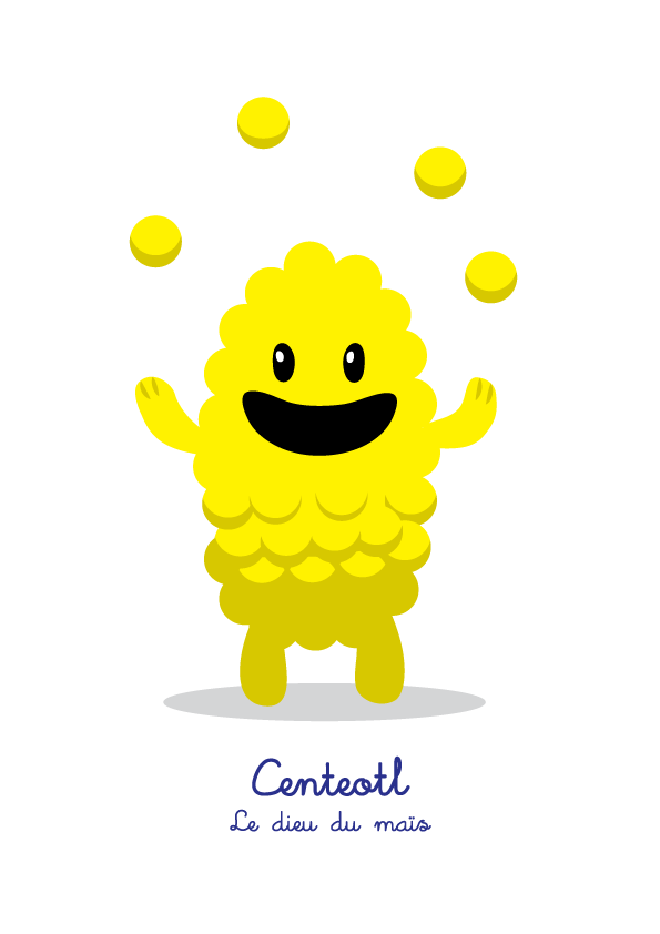 Lil Gods is a series of cute characters, designed for children, based on Mesoamerican deities. Centeotl : le dieu du maïs (the god of corn) T-Shirt and prints here: https://society6.com/product/centeotl-le-dieu-du-mas-lil-gods_print#1=45 English and Spanish version on request