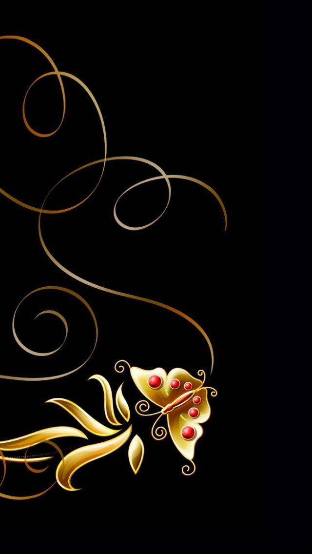 640x1136 Wallpaper patterns, butterfly, black background ...