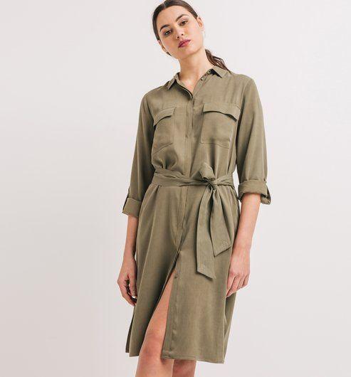 9d5fbee078448f Robe-chemisier Femme kaki - Promod | MODE | Robe chemisier ...