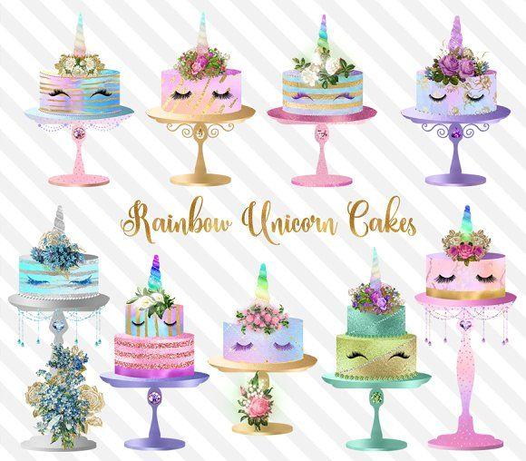 Rainbow Unicorn Cakes Clipart by Origins Digital Curio on ... (580 x 508 Pixel)