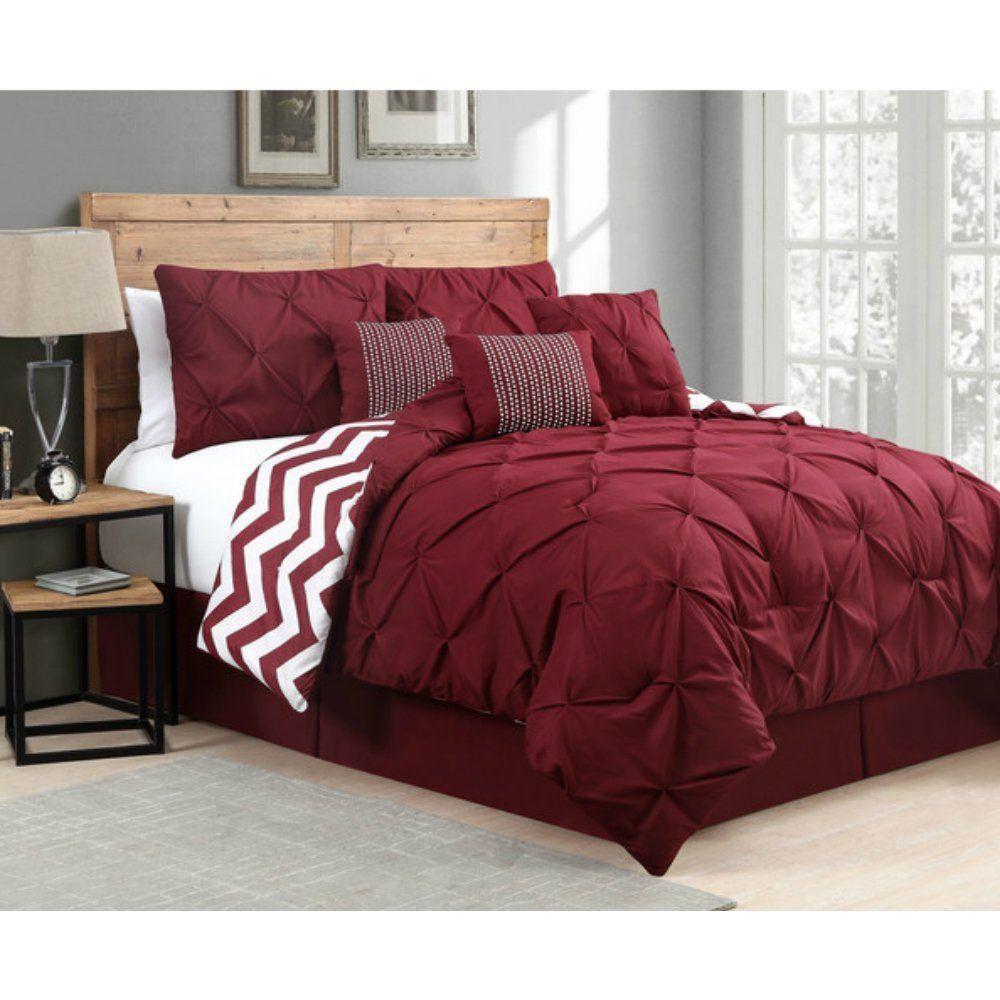Comforter Set With Pintucks On Sale   7 Pieces, Burgundy
