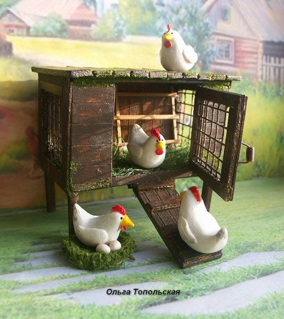 coop for a doll house hicken coop handcrafted miniature for doll rh pinterest com