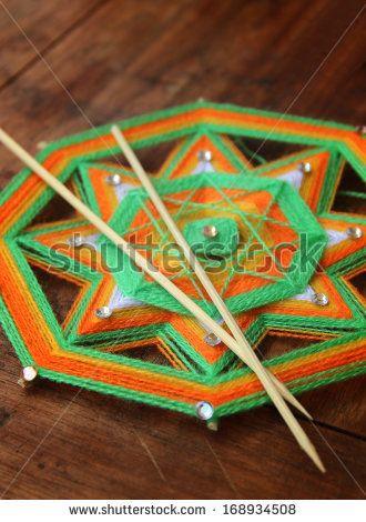 Knitted beautiful mandala. Shallow depth of field