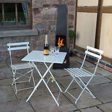 3 piece folding metal outdoor patio bistro set garden furniture grey rh pinterest com