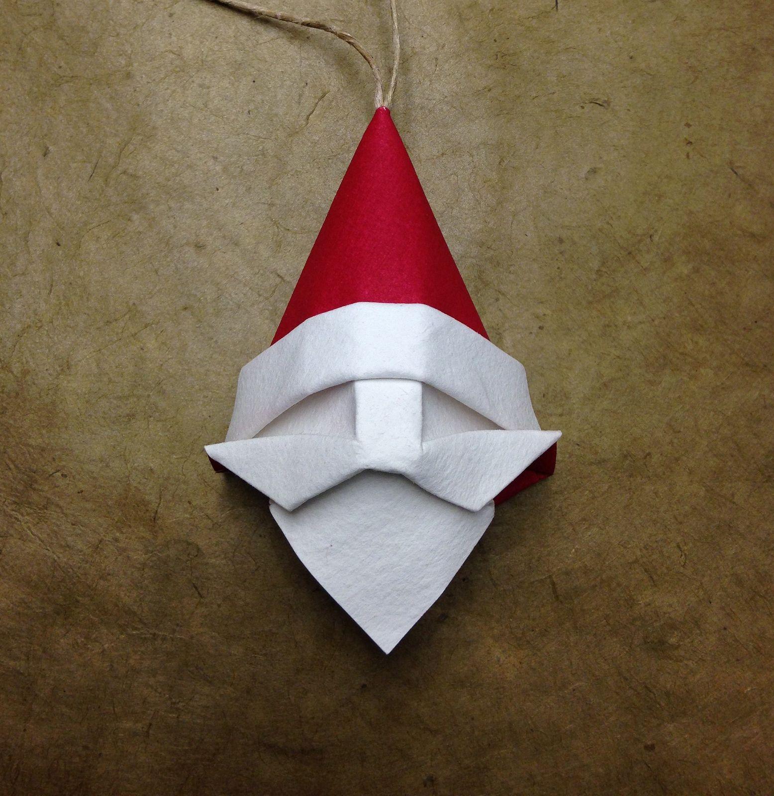 Origami Santa Ornament: Origami Weihnachten