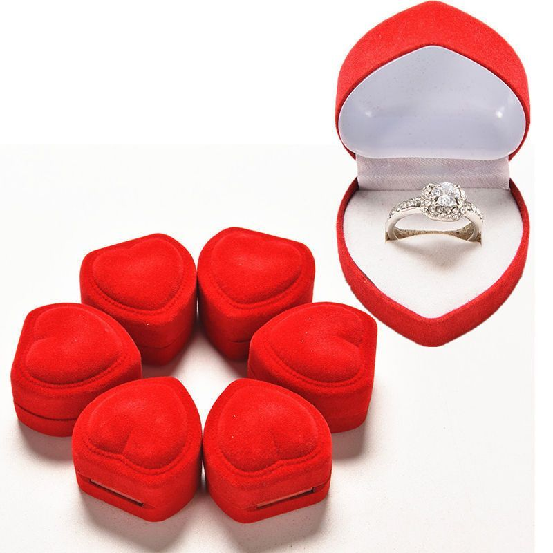Hot 1pcs Mini Cute Red Carrying Cases Heart Shaped Ring Box For