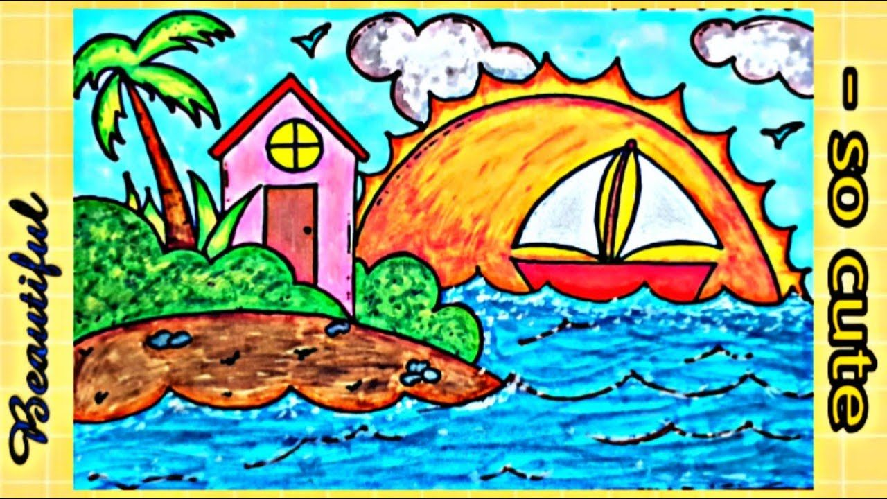Draw A Beautiful Landscape Step By Step رسم منظر طبيعي سهل جدا وكيوت Painting Art
