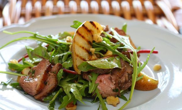 Duck Salad with Grilled Pear, Rocket and Red Wine Vinaigrette