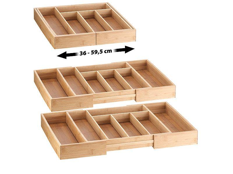 Rosenstein Sohne Schubladeneinsatz 2er Set Variable Bambus Besteckeinsatze 5 7 Facher 36 59 5 Cm Besteckeinsatz Schubladen Einlagen Technik Neuheiten