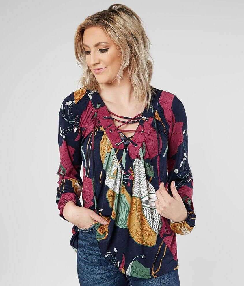 9947b82f222566 Women's Floral Lace-Up Top in by Daytrip., Women's | Products in ...