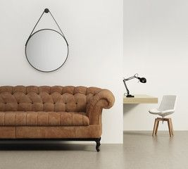 Classic elegant  suede sofa and a desk with modern chair