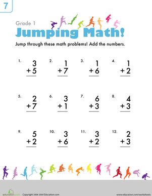 Jumping Math Math Addition Worksheets Addition Worksheets First Grade Math Worksheets
