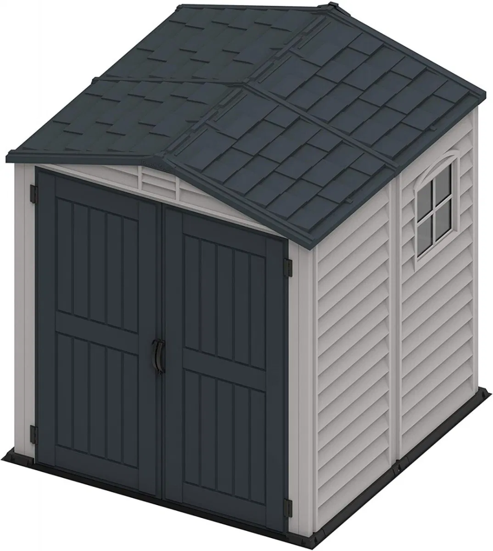 Saffron 6x6 Apex Shed Complete With Integral Floor Window Adobe Dark Grey Plastic Sheds Apex Shed Shed