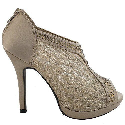 44b471647c7644 TRENDS SNJ Women s Lace High Heel Crystals Platform Peep toe Shootie ...