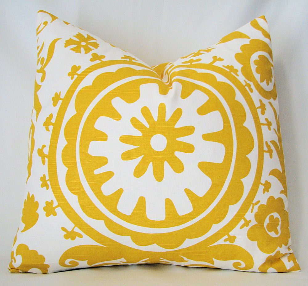 Etsy Yellow Throw Pillow : Designer Decorative Pillow Cover Suzani In Corn Yellow and White 18 inch Removeable Cover. $15 ...