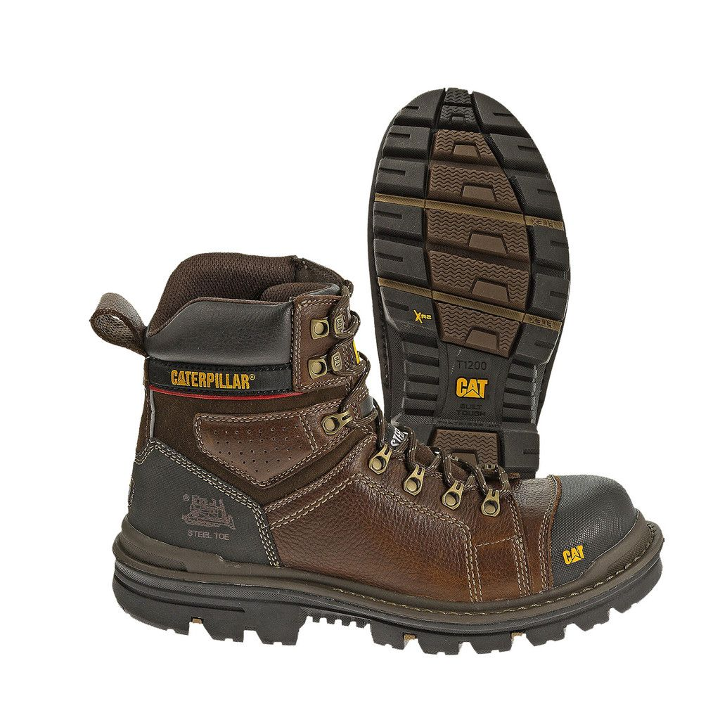 df7ff231caa Caterpillar Hauler Composite Toe Slip Resistant Brown Leather Work ...