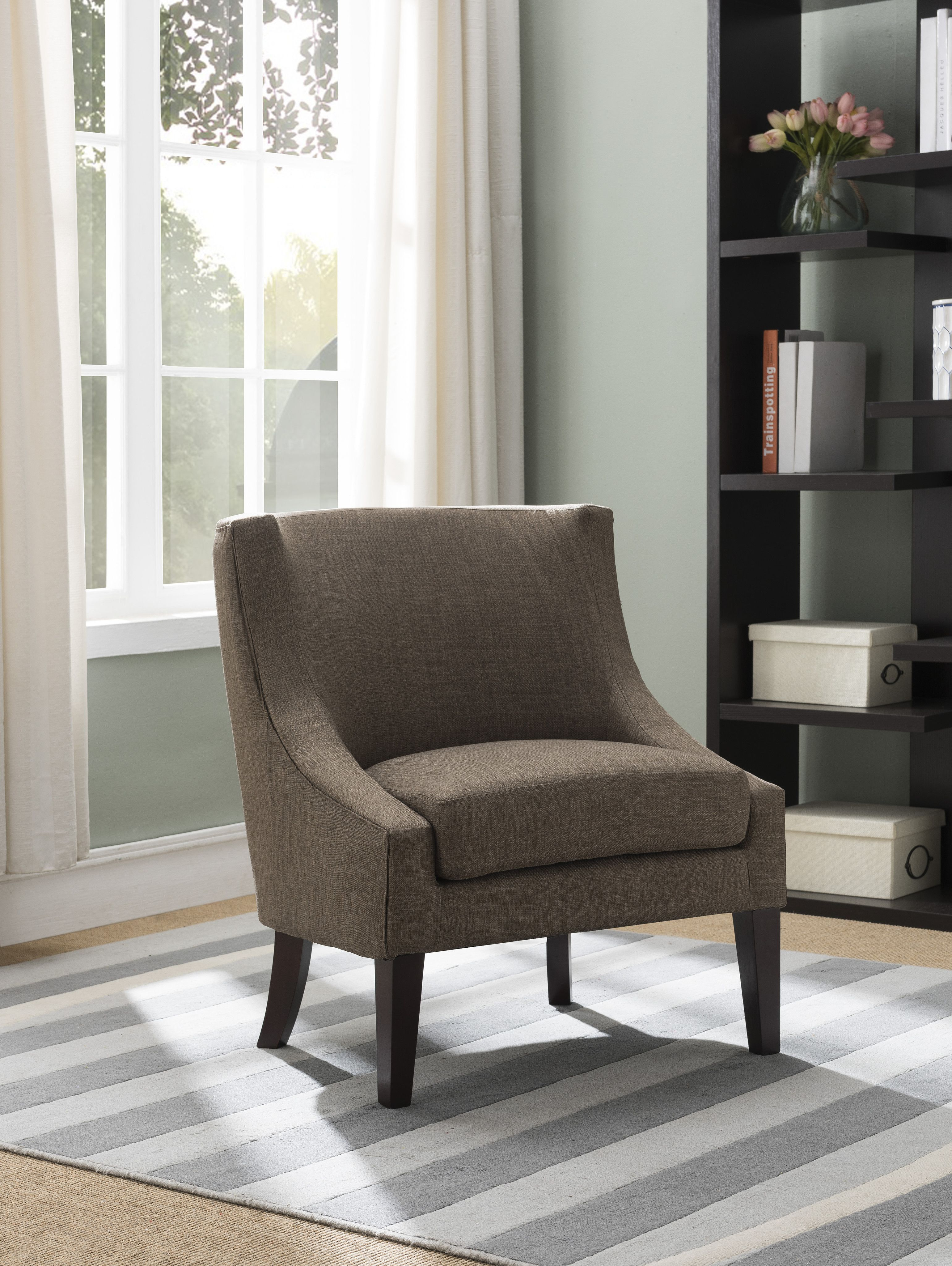 brown upholstered fabric oversized accent living room armless chair rh pinterest com au