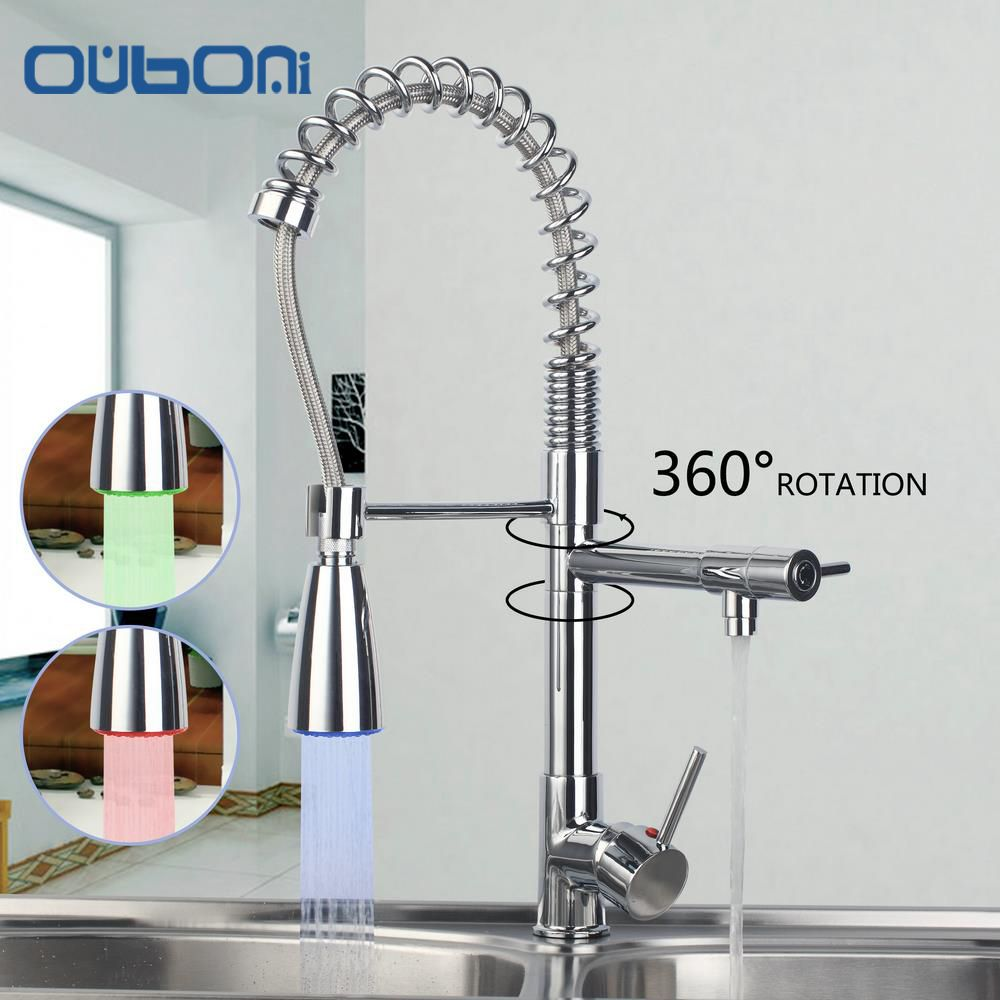 OUBONI LED Light Chrome Water Power Kitchen Faucets Pull Out Down ...