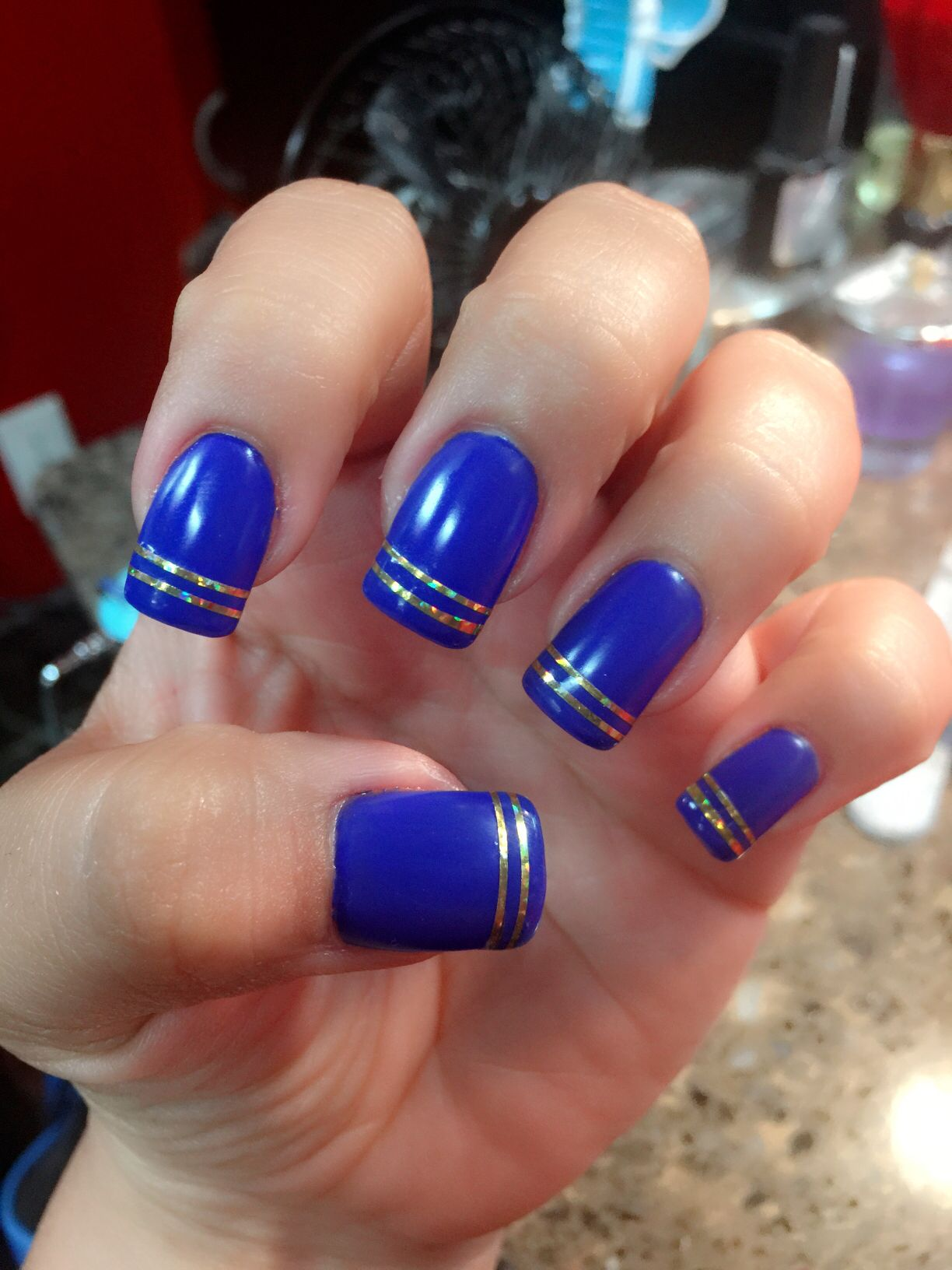 January 2016 nails Blue and gold nail design Matt with glossy tips ...
