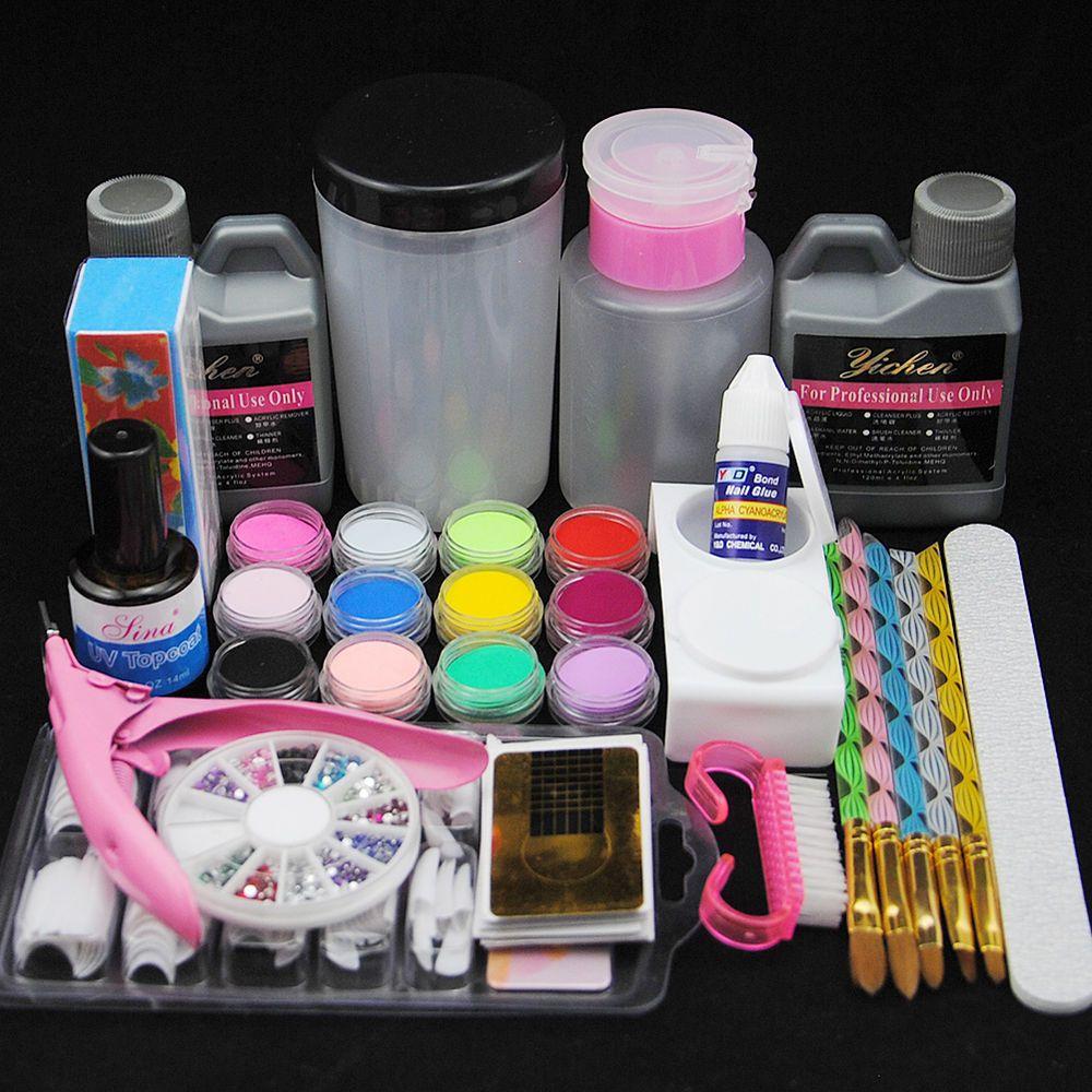 12 Color Acrylic Powder Remover Liquid Nail Kit Tips Brush Pump
