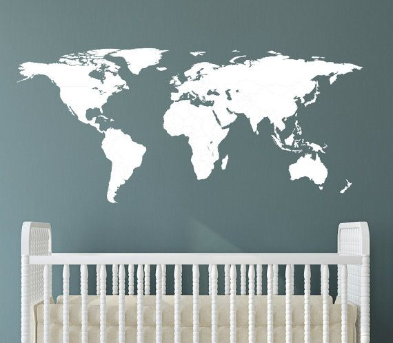 World map wall decal by lovelydecalsworld on etsy love the idea of world map wall decal by lovelydecalsworld on etsy love the idea of having this on gumiabroncs Image collections