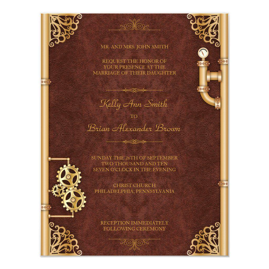 Steampunk Small Rectangular Invitation Zazzle Com Steampunk Wedding Invitation Steampunk Wedding Steampunk Wedding Themes