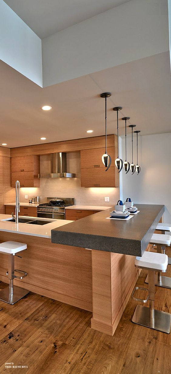 contemporary kitchen contrasting colour and raised bench height rh pinterest com