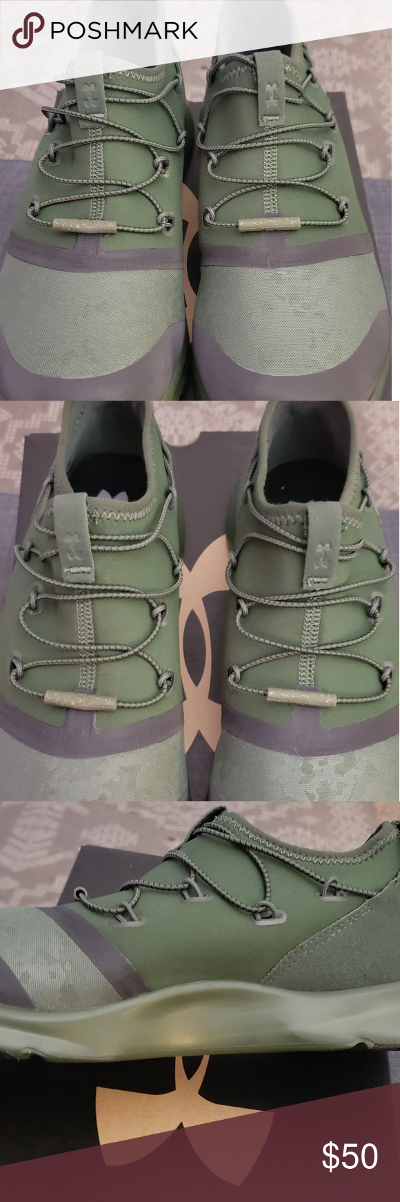 Under armour shoes, Tie shoes, Green camo
