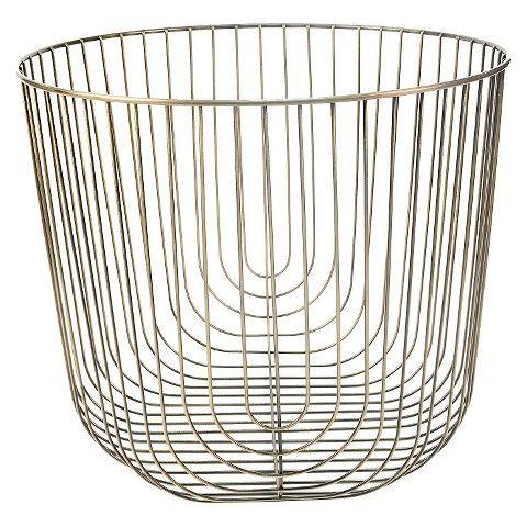Large Round Brass Wire Basket, Large Round Wire Basket