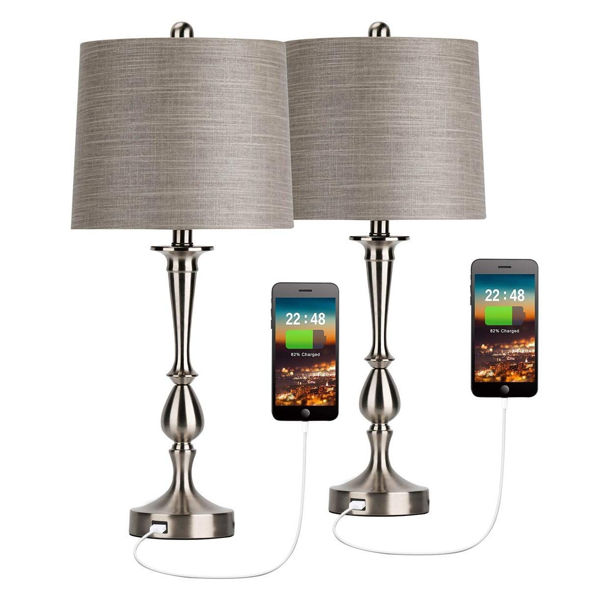 Oneach Usb Table Lamp Set Of 2 Modern Bedside Desk Lamp With Usb