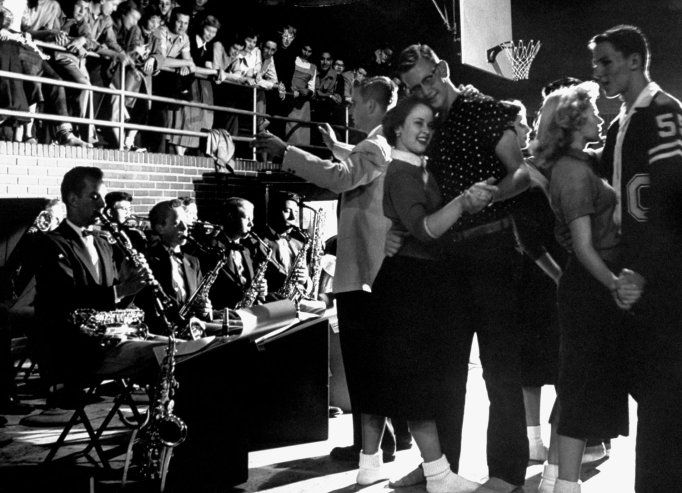 Students dance at a Carlsbad, Calif., high school in 1954.