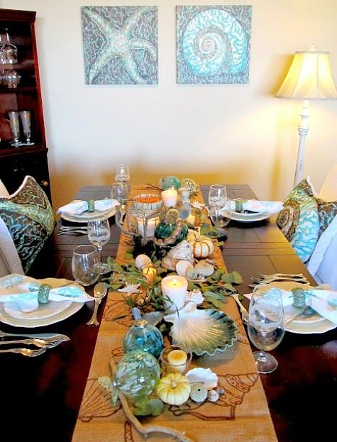 20 Festive Coastal Table Top Centerpiece Ideas With Candles Thanksgiving Dining Room Table Top Centerpiece Coastal Candle