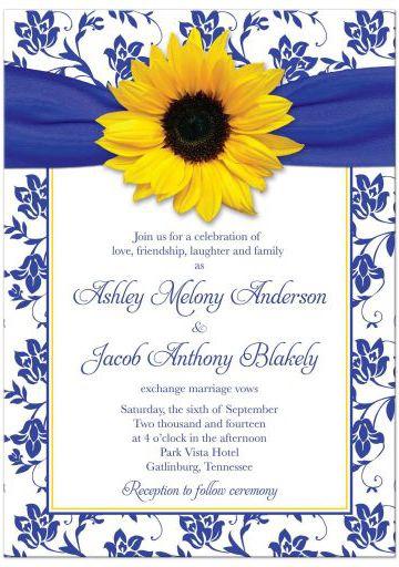 Wedding Invitation Sunflower Damask Royal Blue Yellow Daisy Wedding Invitations Sunflower Wedding Invitations Damask Wedding Invitation