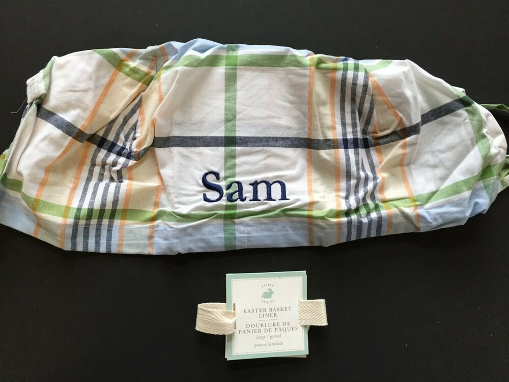 Pottery Barn Kids Plaid Easter Basket Liner Large Sam