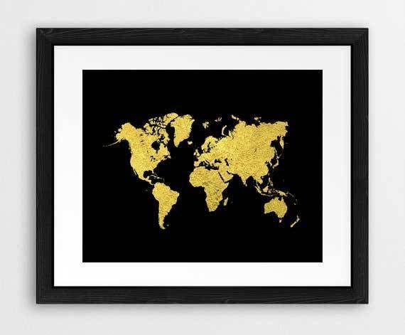Gold and black world map art prints gold world map cool ikonolexi gold and black world map art prints gold world map cool gumiabroncs Image collections