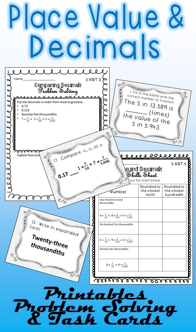 decimal problem solving worksheet