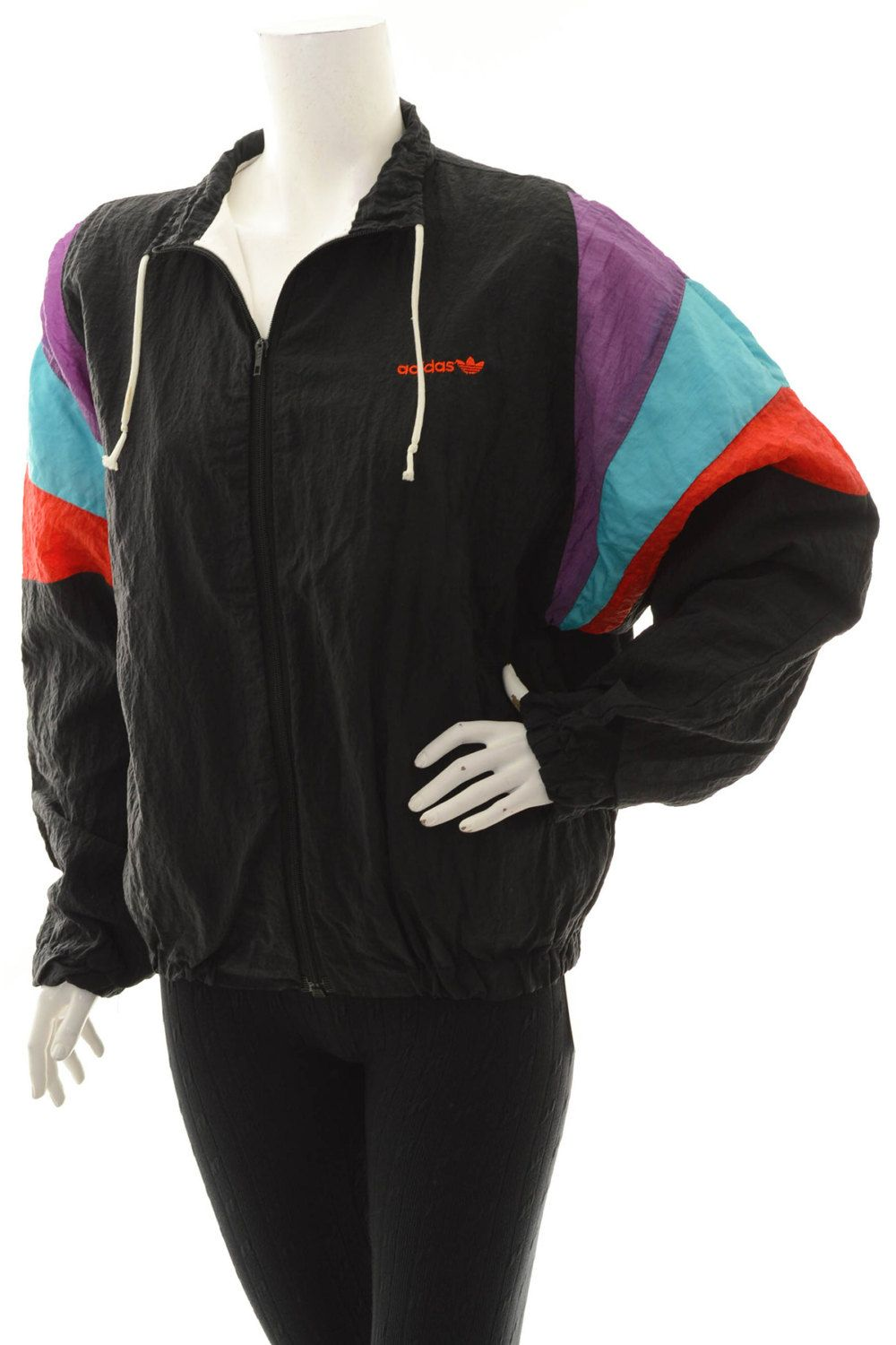 bb2a9743deaf Vintage 80s Adidas Originals Trefoil Women s Windbreaker Color Block  Black Red Blue Purple Size L by VapeoVintage on Etsy