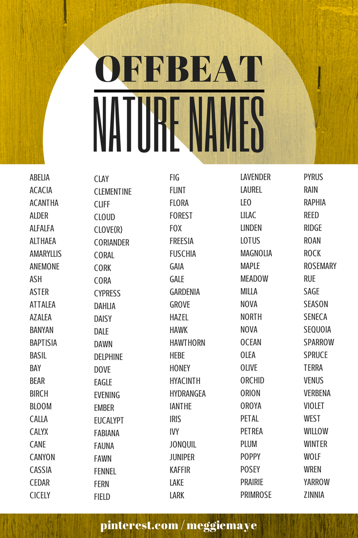 Offbeat Nature Baby Names List for Boys and Girls  I have so many