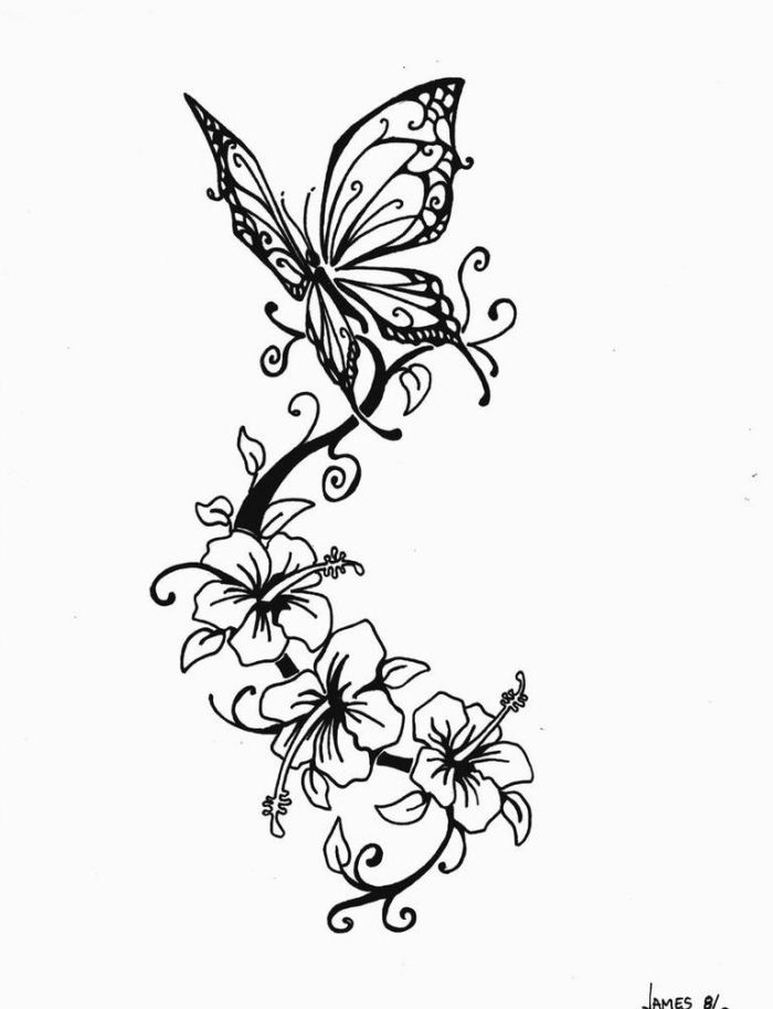 Tattoovorlagen mit Schmetterling und Blumen-Motive für Frauen